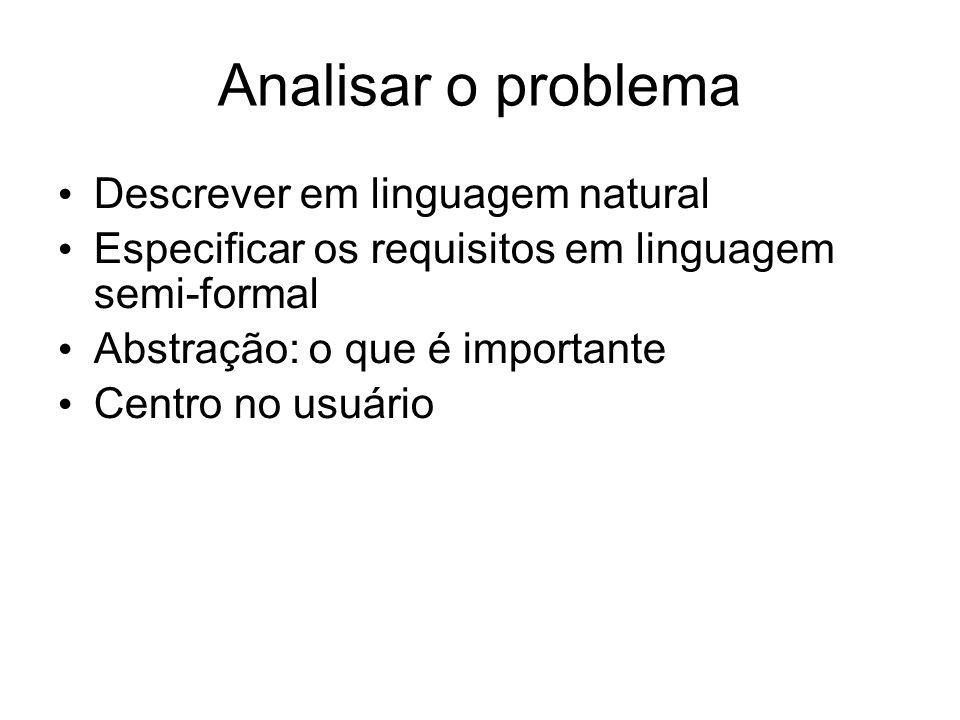 Analisar o problema Descrever em linguagem natural