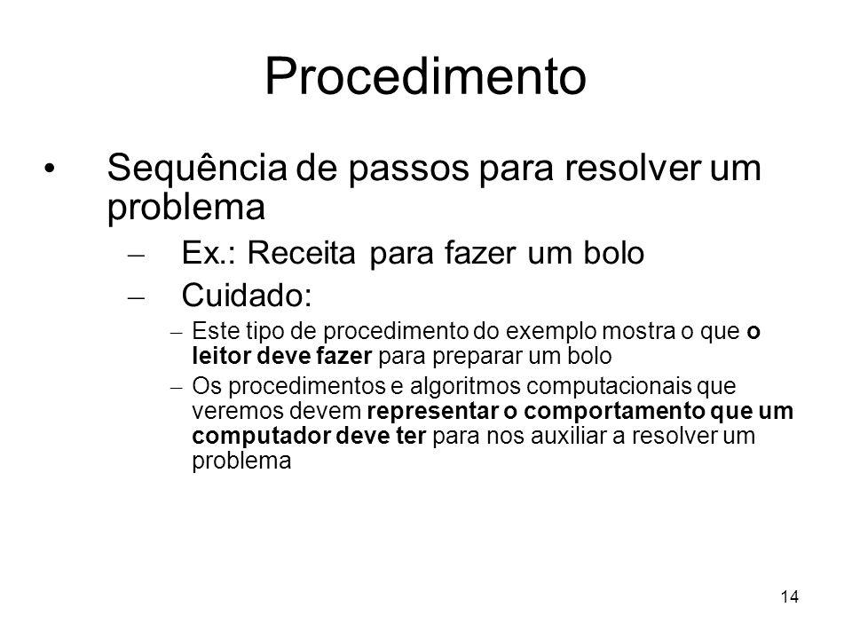 Procedimento Sequência de passos para resolver um problema