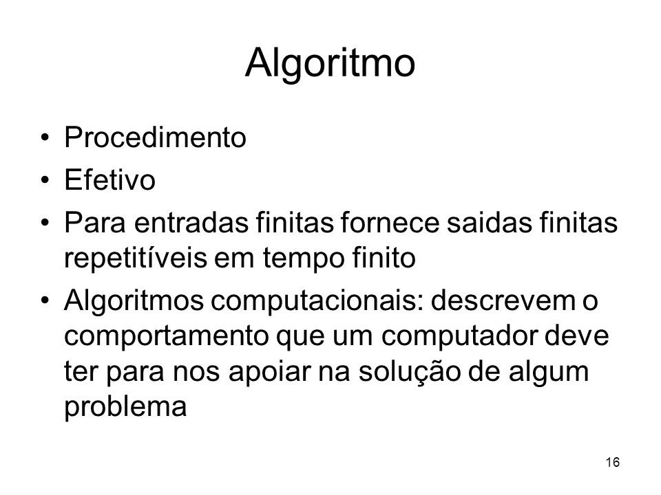 Algoritmo Procedimento Efetivo