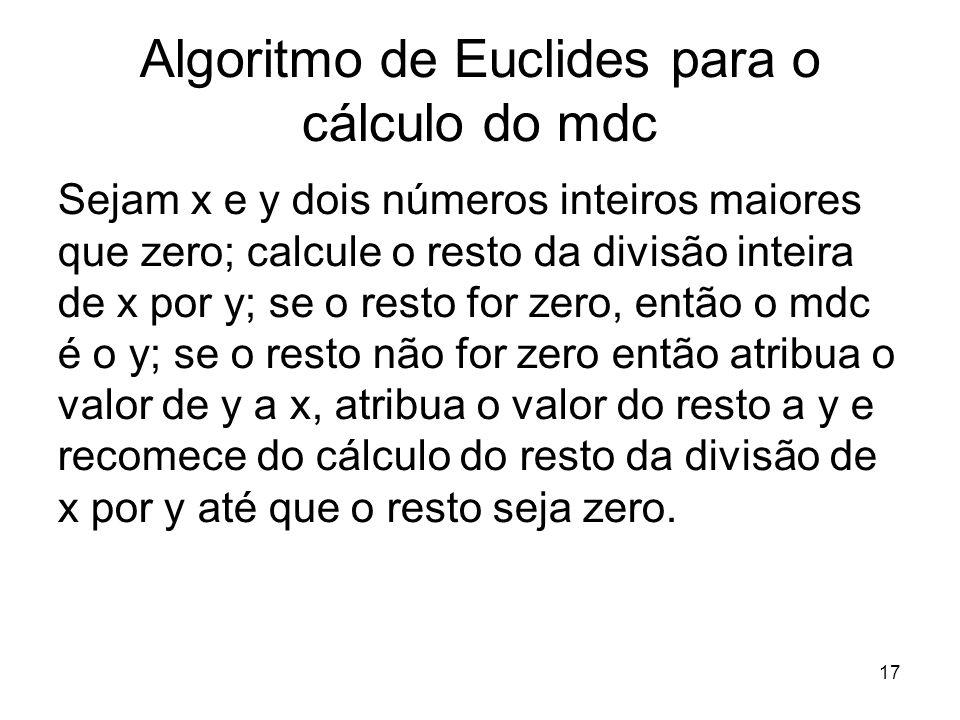 Algoritmo de Euclides para o cálculo do mdc
