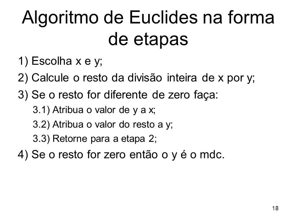 Algoritmo de Euclides na forma de etapas