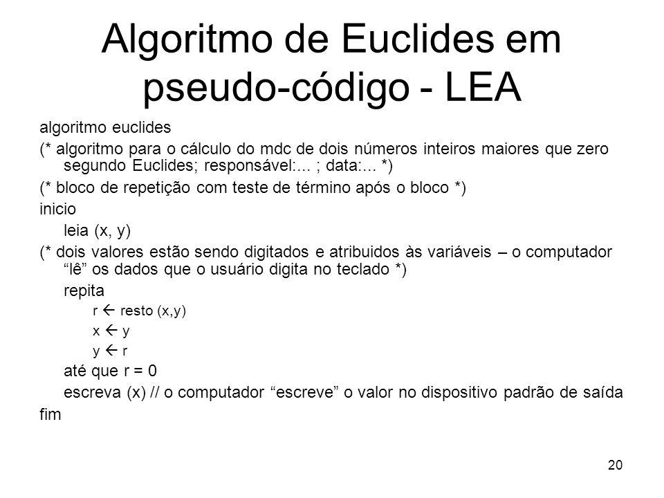 Algoritmo de Euclides em pseudo-código - LEA