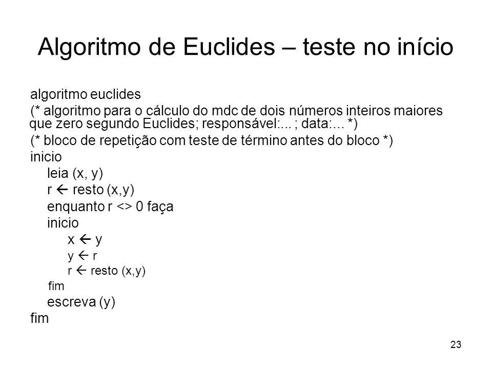 Algoritmo de Euclides – teste no início