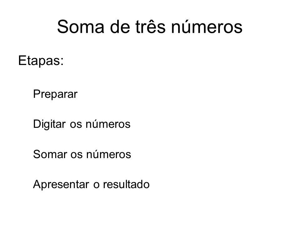 Soma de três números Etapas: Preparar Digitar os números