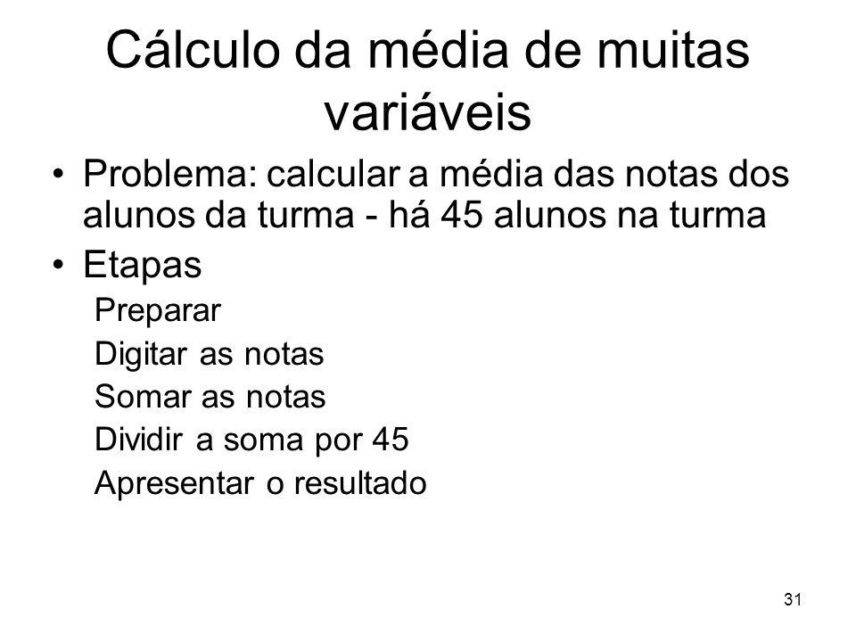 Cálculo da média de muitas variáveis