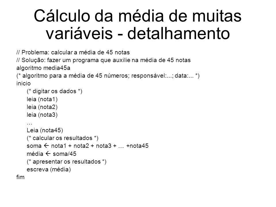 Cálculo da média de muitas variáveis - detalhamento