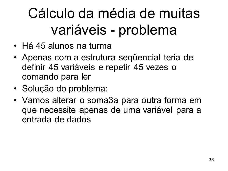 Cálculo da média de muitas variáveis - problema