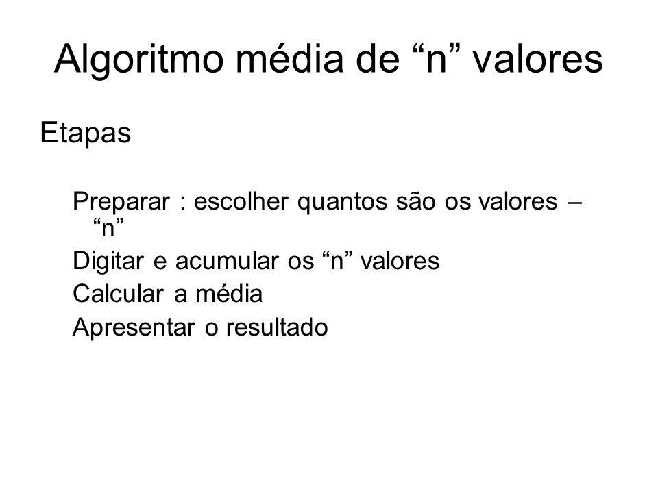 Algoritmo média de n valores
