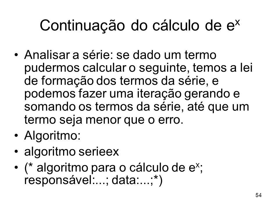 Continuação do cálculo de ex