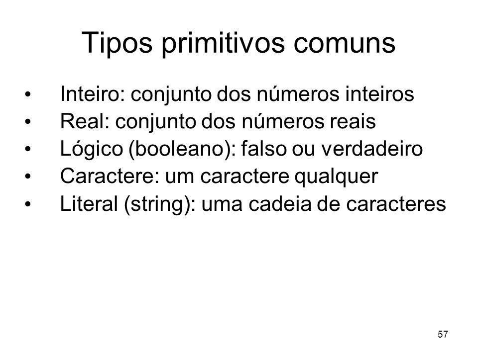 Tipos primitivos comuns