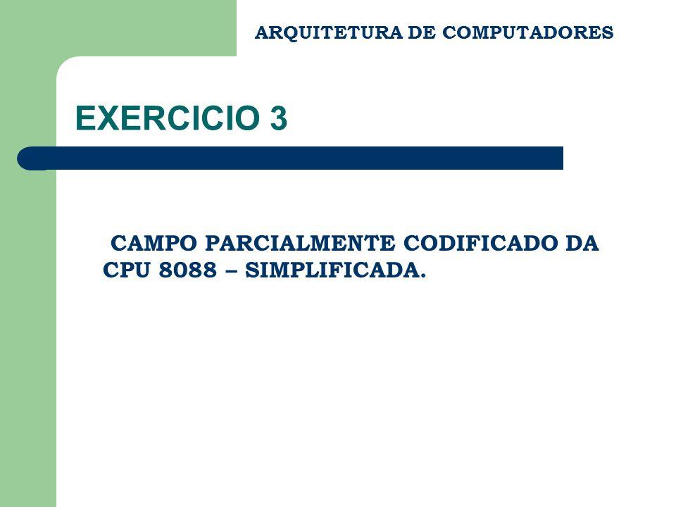 EXERCICIO 3 CAMPO PARCIALMENTE CODIFICADO DA CPU 8088 – SIMPLIFICADA.
