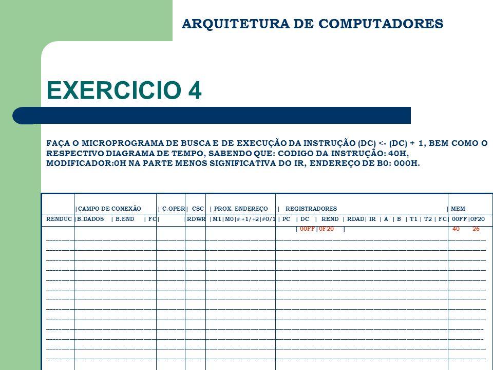 EXERCICIO 4 ARQUITETURA DE COMPUTADORES