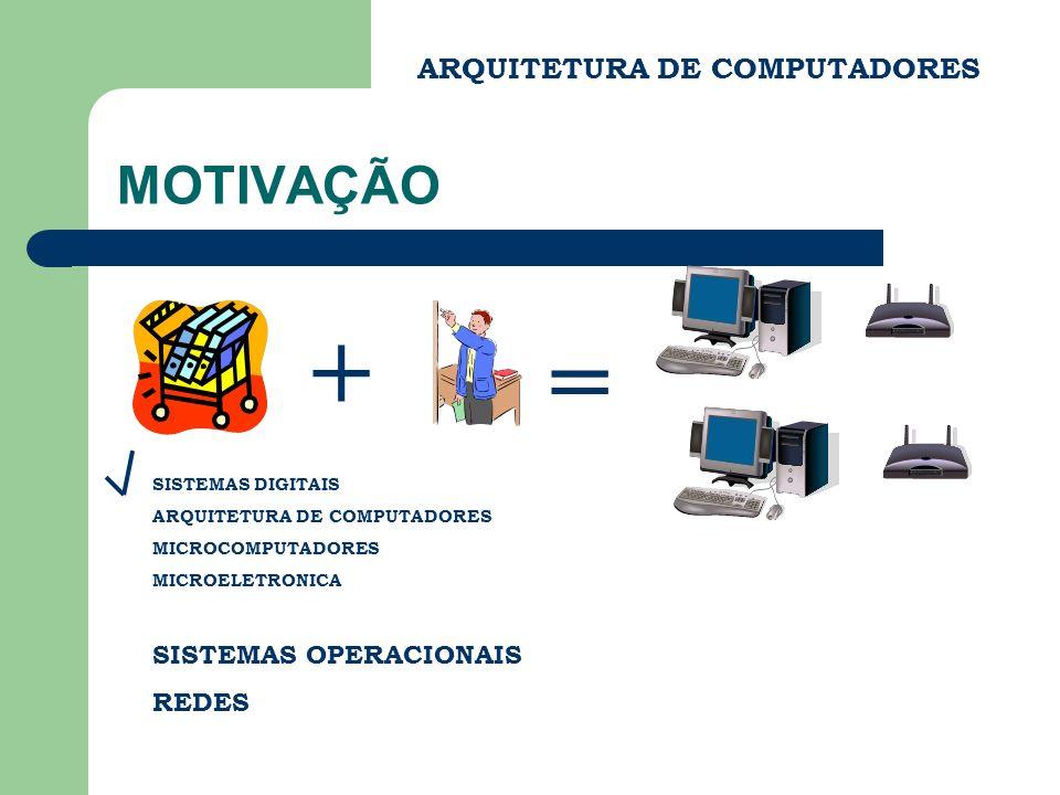 + = MOTIVAÇÃO ARQUITETURA DE COMPUTADORES SISTEMAS OPERACIONAIS REDES