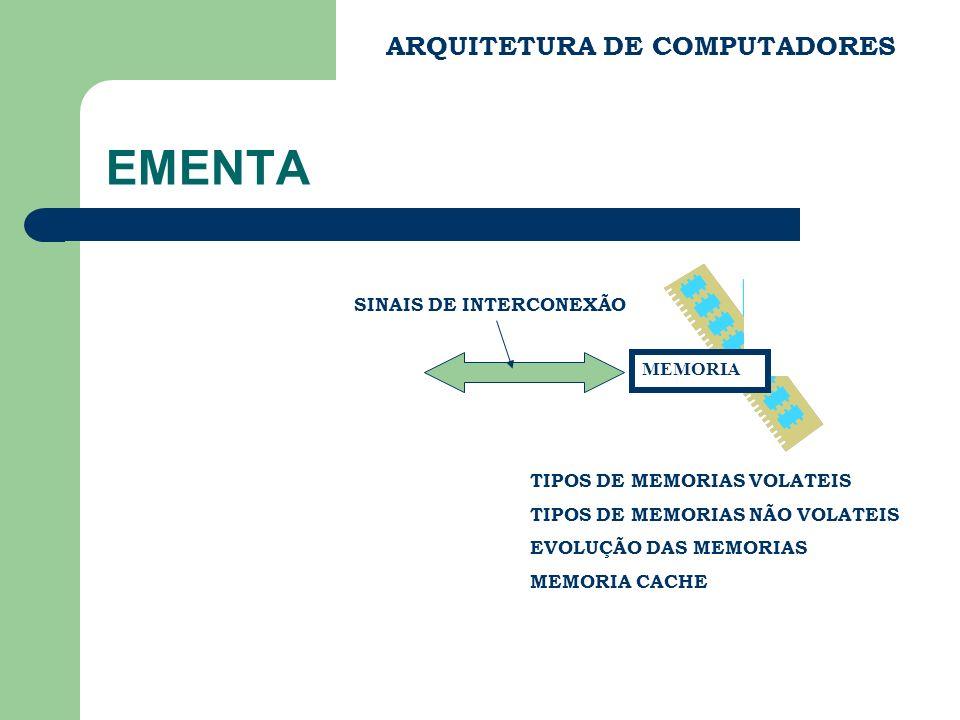 EMENTA ARQUITETURA DE COMPUTADORES SINAIS DE INTERCONEXÃO MEMORIA