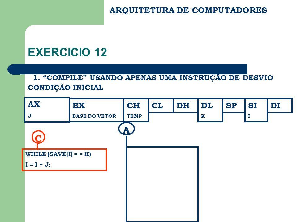 EXERCICIO 12 A C ARQUITETURA DE COMPUTADORES AX BX CH CL DH DL SP SI