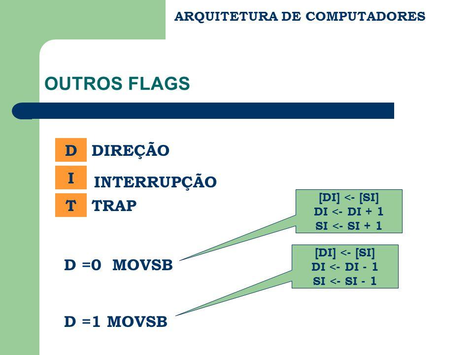OUTROS FLAGS D DIREÇÃO I INTERRUPÇÃO T TRAP D =0 MOVSB D =1 MOVSB