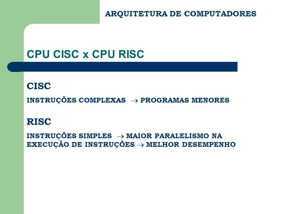 CPU CISC x CPU RISC CISC RISC ARQUITETURA DE COMPUTADORES