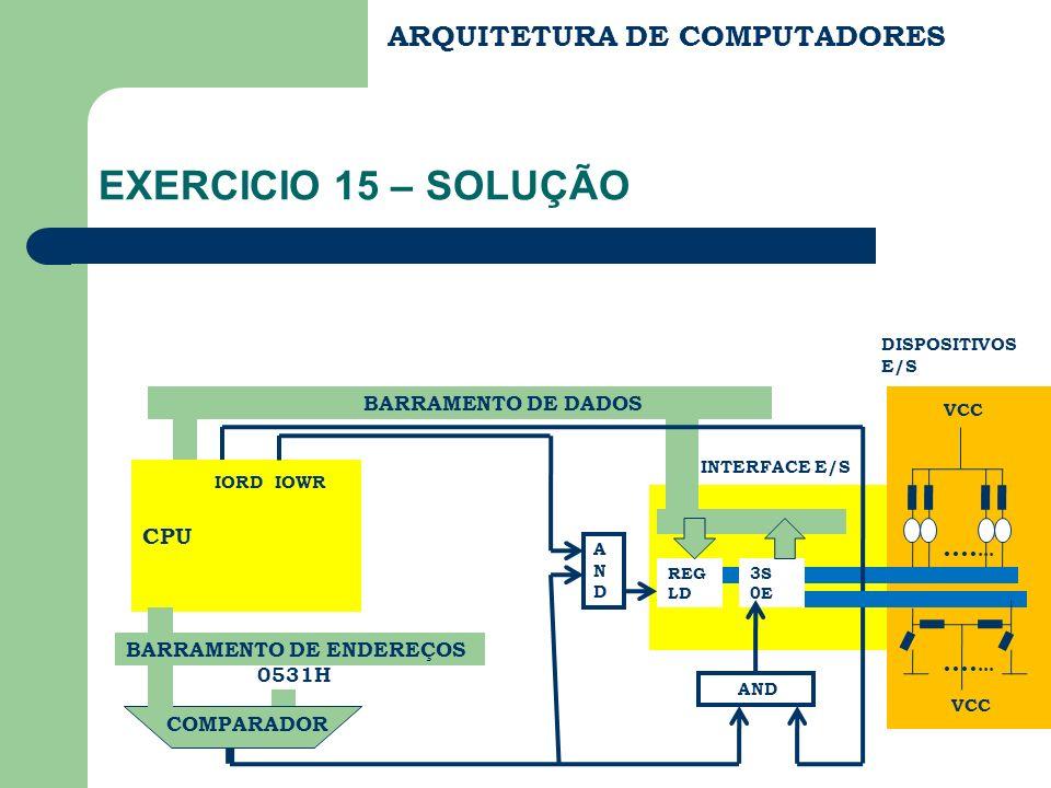 EXERCICIO 15 – SOLUÇÃO ARQUITETURA DE COMPUTADORES ....... .......