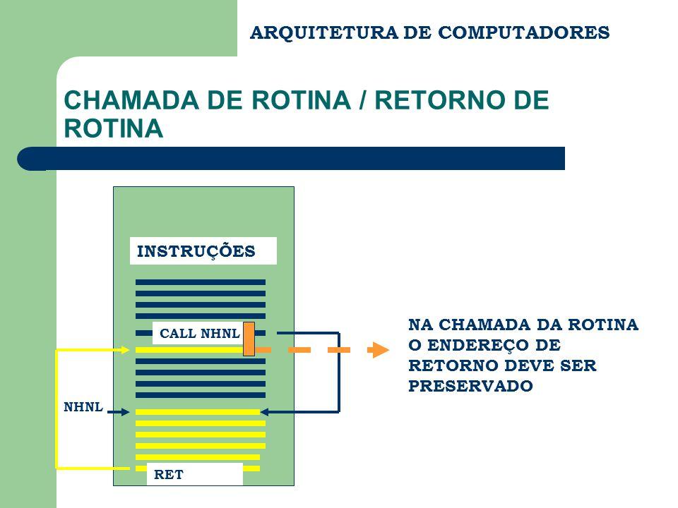 CHAMADA DE ROTINA / RETORNO DE ROTINA