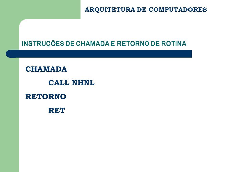 INSTRUÇÕES DE CHAMADA E RETORNO DE ROTINA