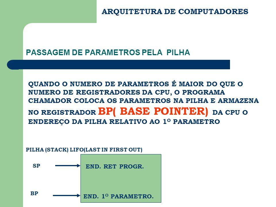 PASSAGEM DE PARAMETROS PELA PILHA