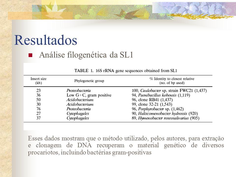 Resultados Análise filogenética da SL1