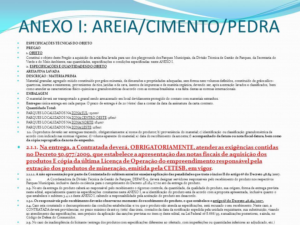 ANEXO I: AREIA/CIMENTO/PEDRA