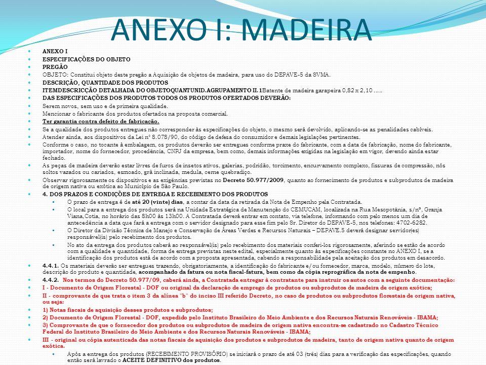 ANEXO I: MADEIRA ANEXO I ESPECIFICAÇÕES DO OBJETO PREGÃO