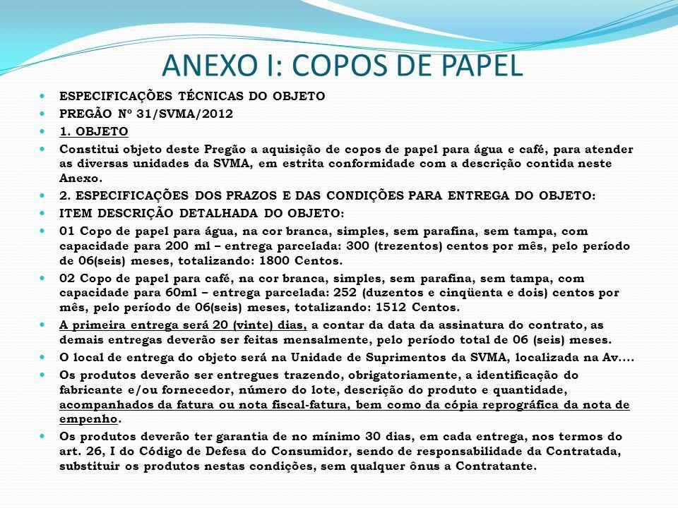 ANEXO I: COPOS DE PAPEL ESPECIFICAÇÕES TÉCNICAS DO OBJETO