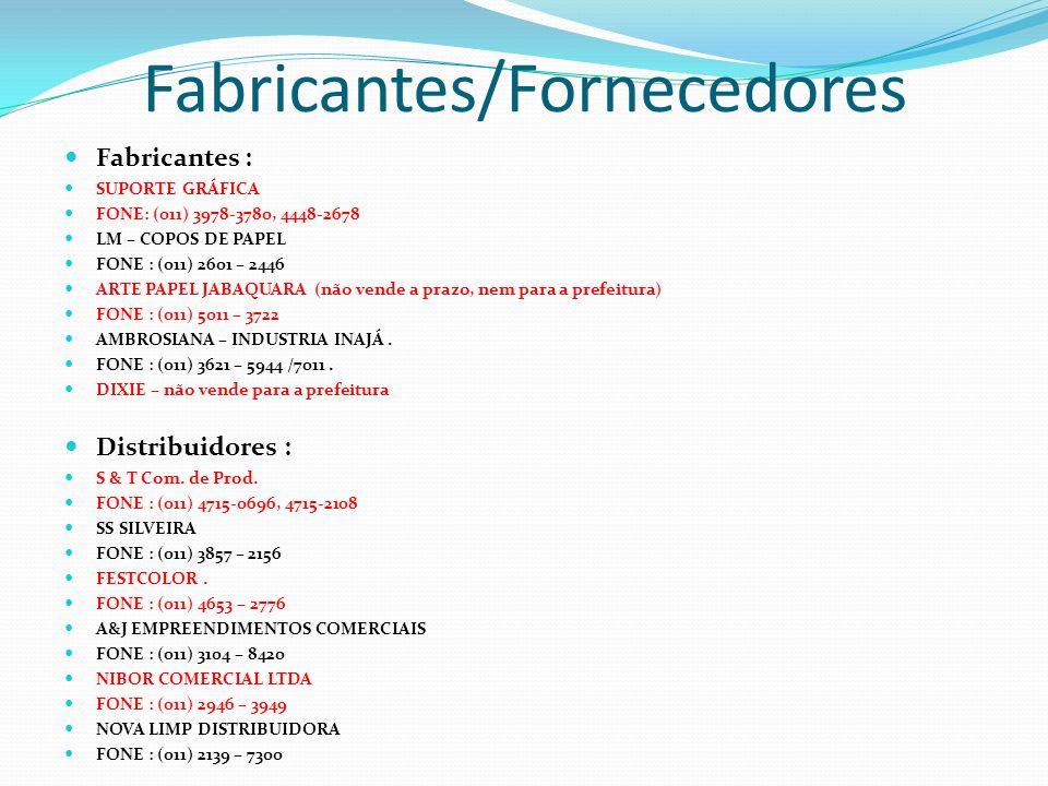 Fabricantes/Fornecedores