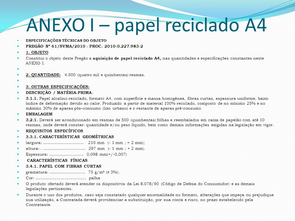 ANEXO I – papel reciclado A4