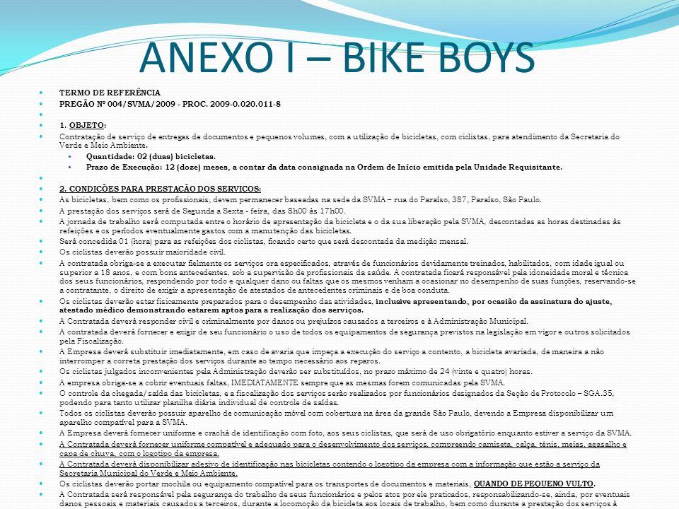 ANEXO I – BIKE BOYS TERMO DE REFERÊNCIA