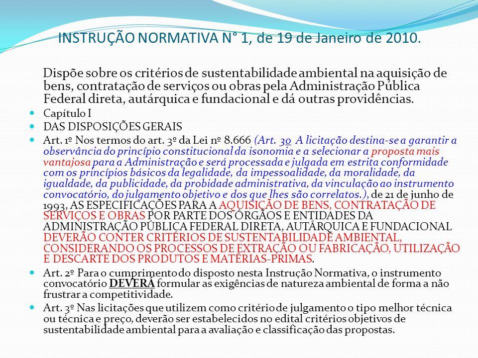 INSTRUÇÃO NORMATIVA N° 1, de 19 de Janeiro de 2010.