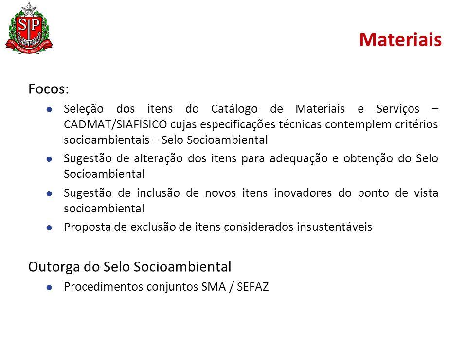 Materiais Focos: Outorga do Selo Socioambiental