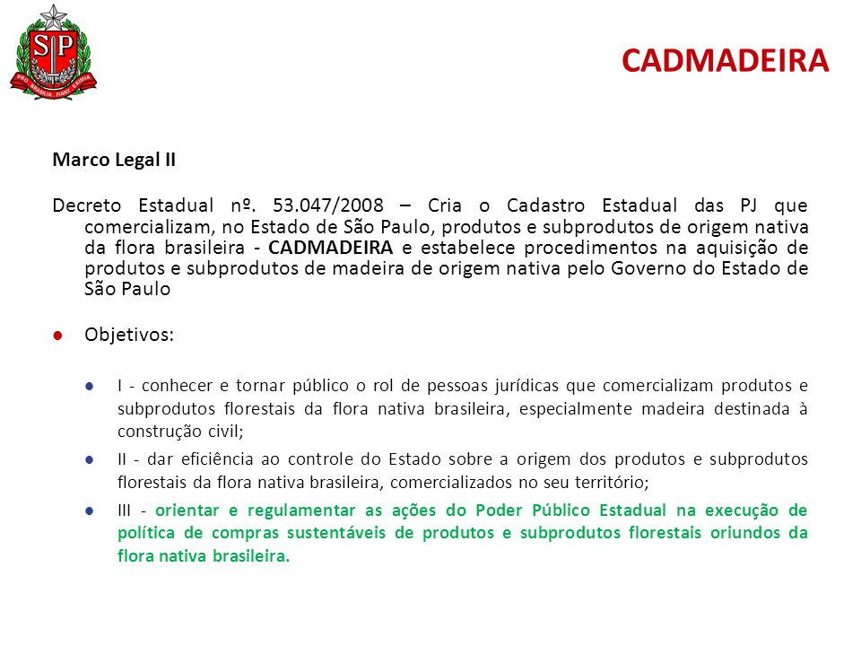 CADMADEIRA Marco Legal II