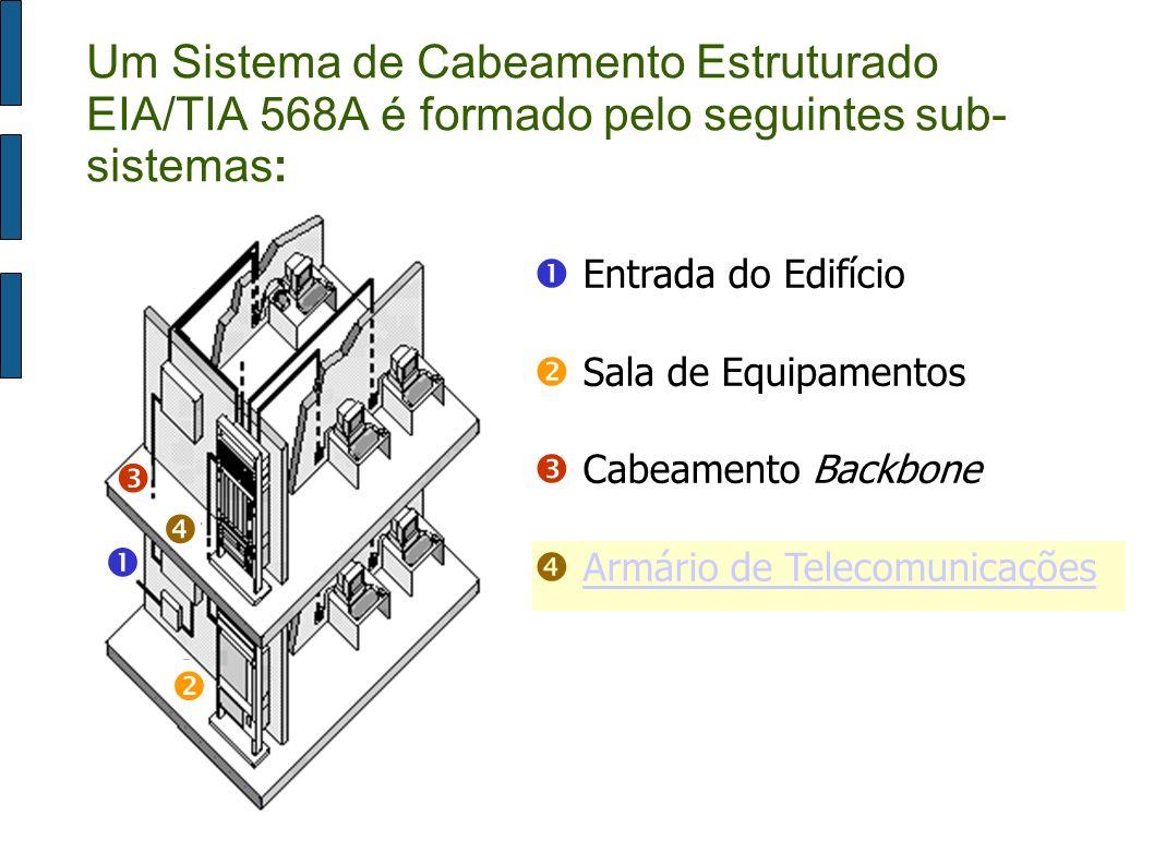 Um Sistema de Cabeamento Estruturado EIA/TIA 568A é formado pelo seguintes sub-sistemas: