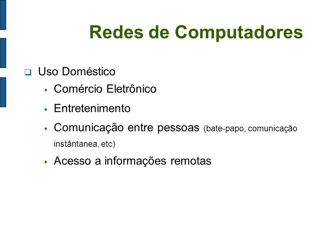 Redes de Computadores Uso Doméstico Comércio Eletrônico Entretenimento