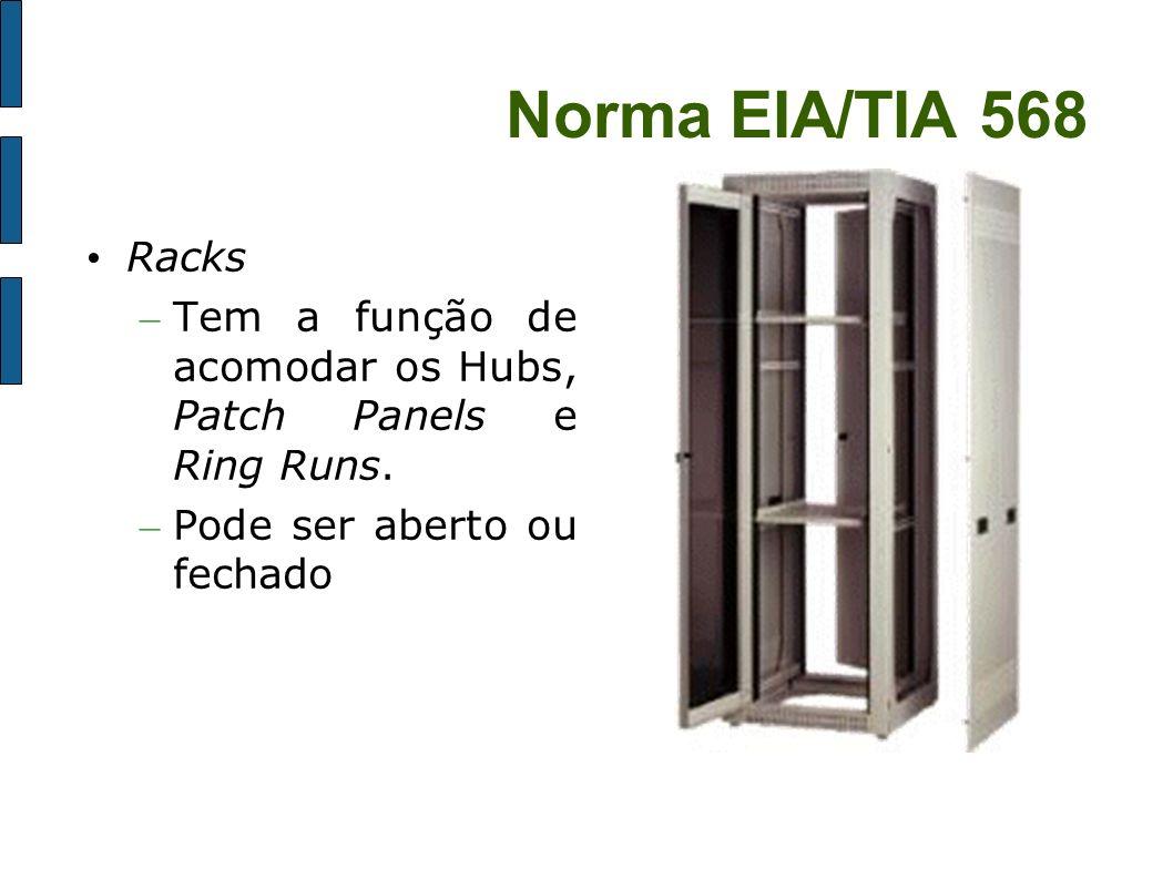 Norma EIA/TIA 568Racks.Tem a função de acomodar os Hubs, Patch Panels e Ring Runs.