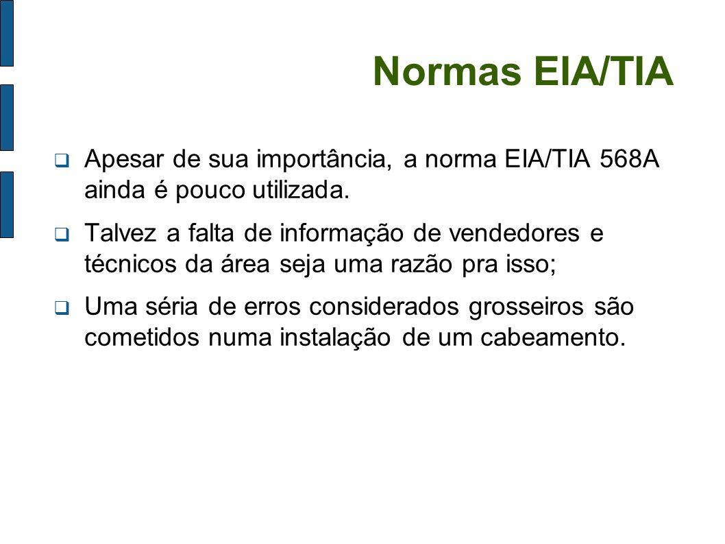 Normas EIA/TIA Apesar de sua importância, a norma EIA/TIA 568A ainda é pouco utilizada.