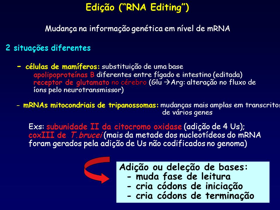 Edição ( RNA Editing )