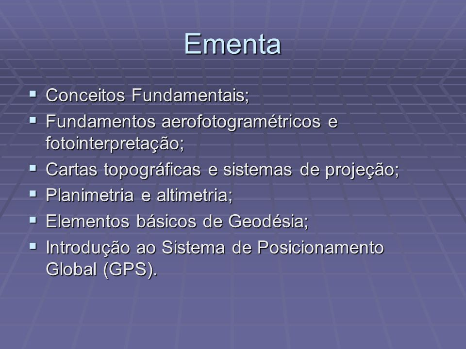 Ementa Conceitos Fundamentais;