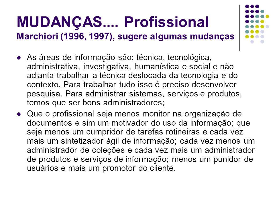 MUDANÇAS.... Profissional Marchiori (1996, 1997), sugere algumas mudanças