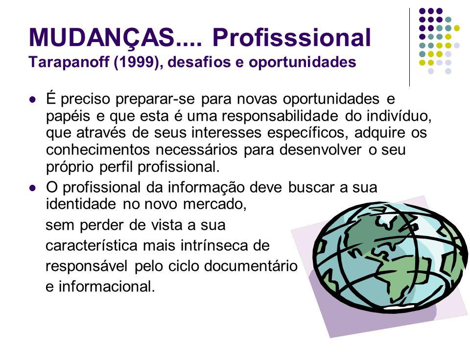 MUDANÇAS.... Profisssional Tarapanoff (1999), desafios e oportunidades