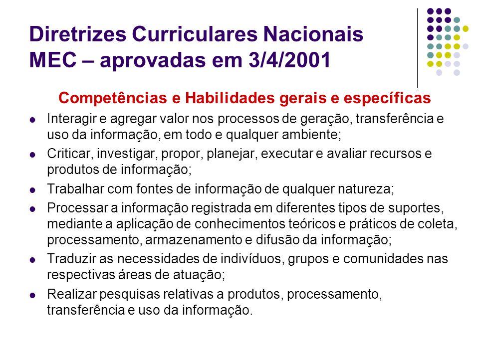 Diretrizes Curriculares Nacionais MEC – aprovadas em 3/4/2001