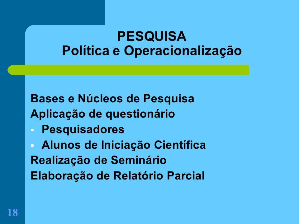PESQUISA Política e Operacionalização