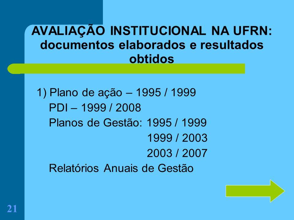 AVALIAÇÃO INSTITUCIONAL NA UFRN: documentos elaborados e resultados obtidos