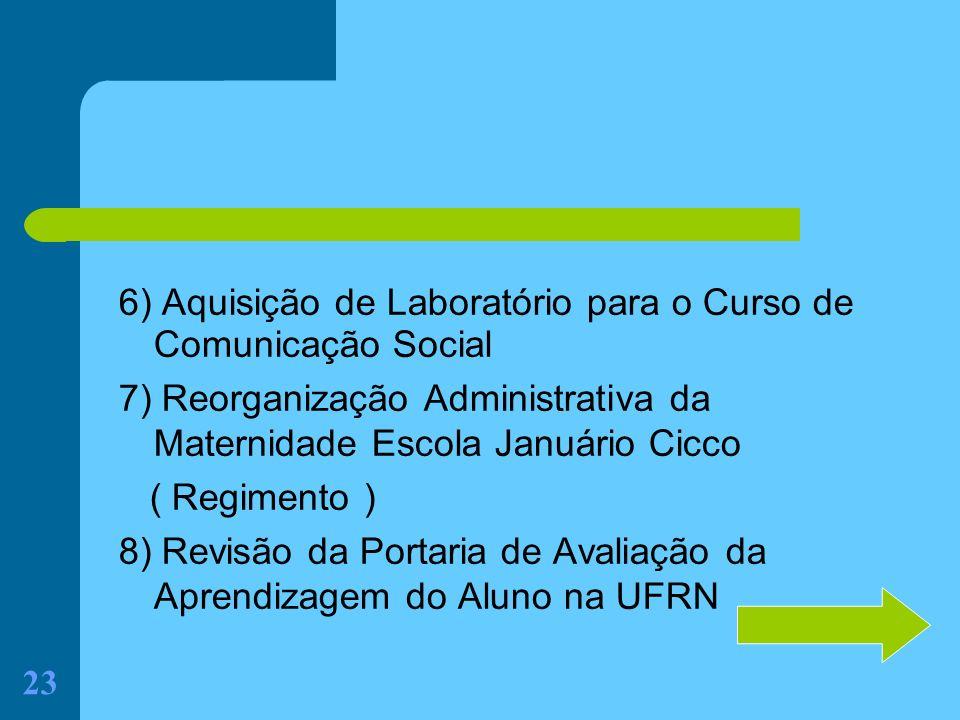 6) Aquisição de Laboratório para o Curso de Comunicação Social