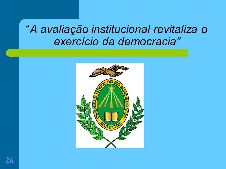 A avaliação institucional revitaliza o exercício da democracia