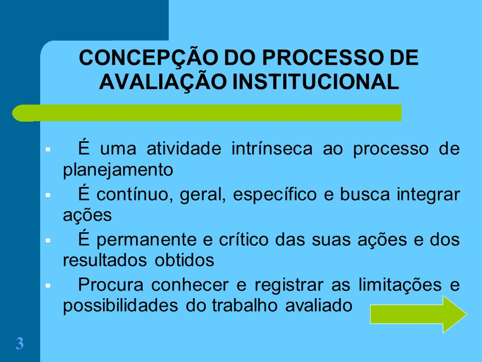CONCEPÇÃO DO PROCESSO DE AVALIAÇÃO INSTITUCIONAL