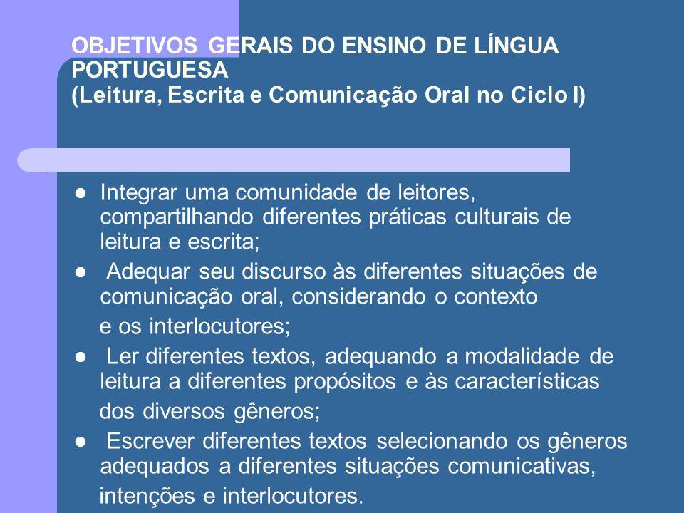 OBJETIVOS GERAIS DO ENSINO DE LÍNGUA PORTUGUESA (Leitura, Escrita e Comunicação Oral no Ciclo I)